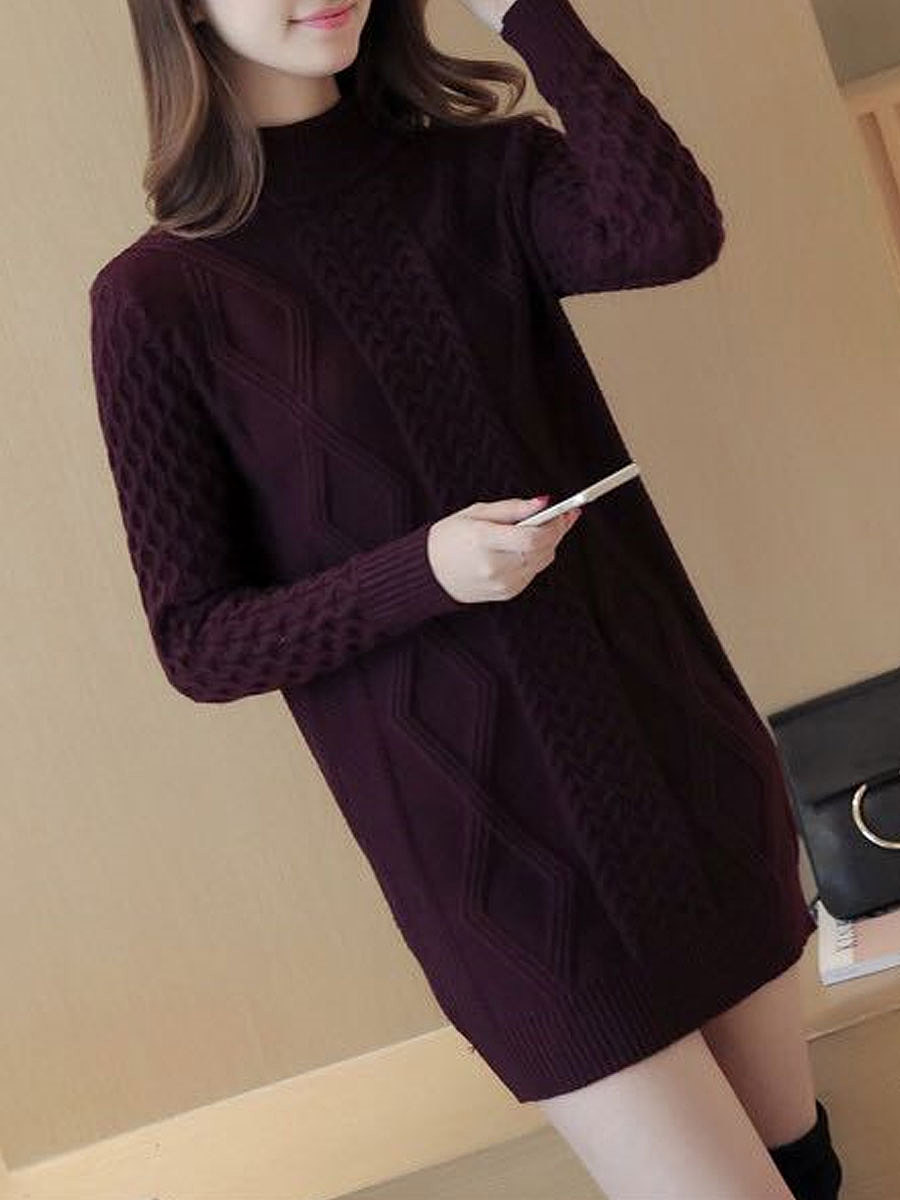 High Neck Solid Embossed Sweater