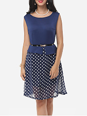 Crew Neck Polka Dot Skater-Dress