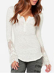 Autumn Spring  Polyester  Women  V-Neck  Decorative Lace  Decorative Button  Plain Long Sleeve T-Shirts
