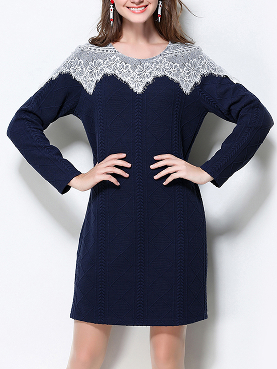 Round Neck Decorative Lace Embossed Knitted Bodycon Dress