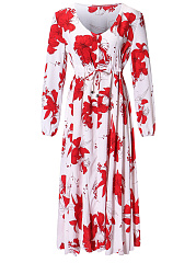 V-Neck  Elastic Waist  Floral Plus Size Midi & Maxi Dress