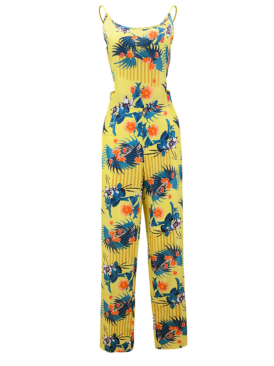 Spaghetti Strap Back Hole Floral Printed Jumpsuit