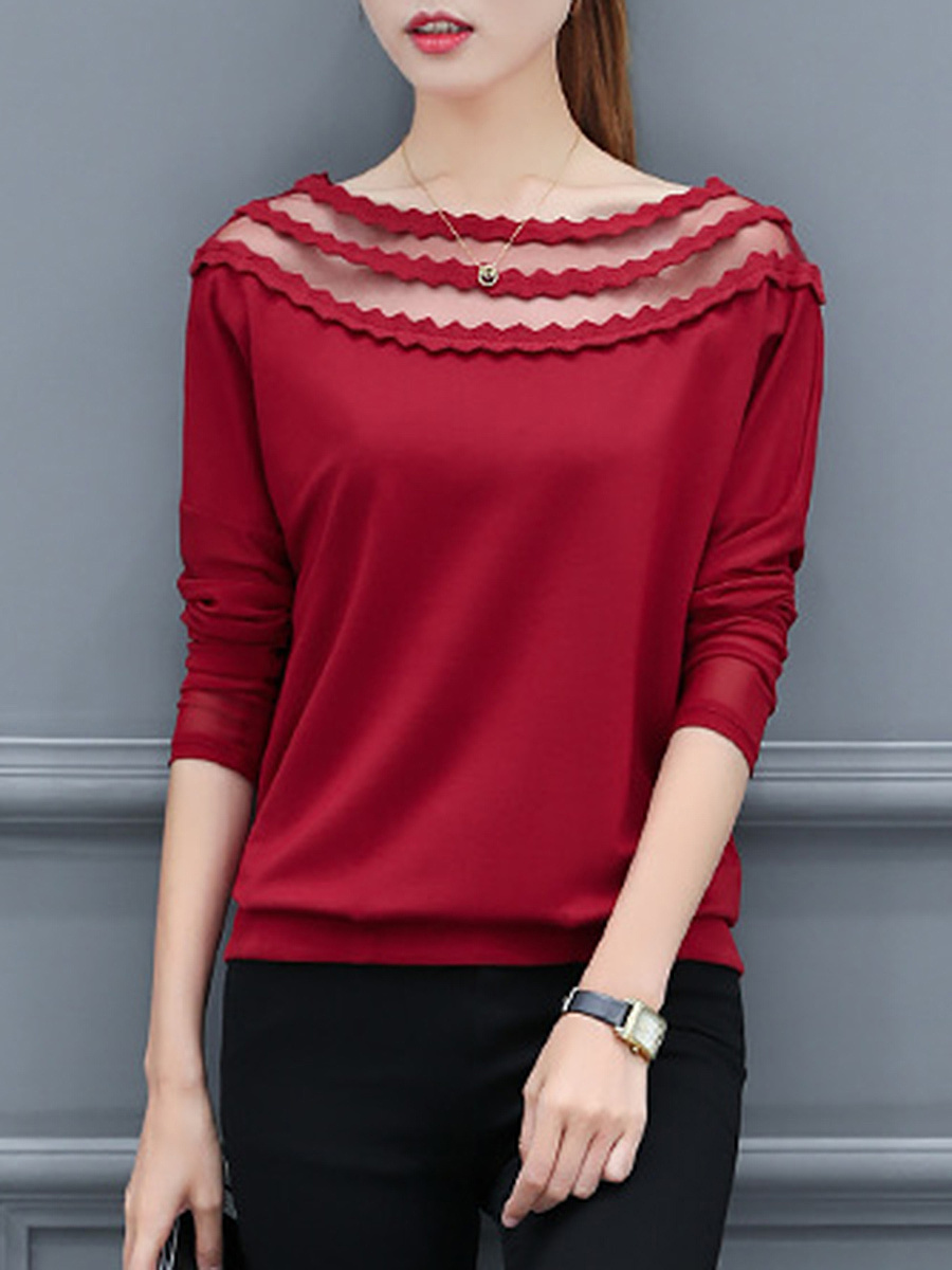 Boat Neck See-Through Plain Long Sleeve T-Shirt