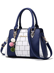 Cute Color Block Contrast Trim PU Hand Bag