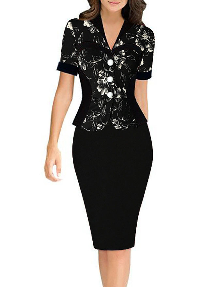Fold-Over Collar  Floral Bodycon Dress