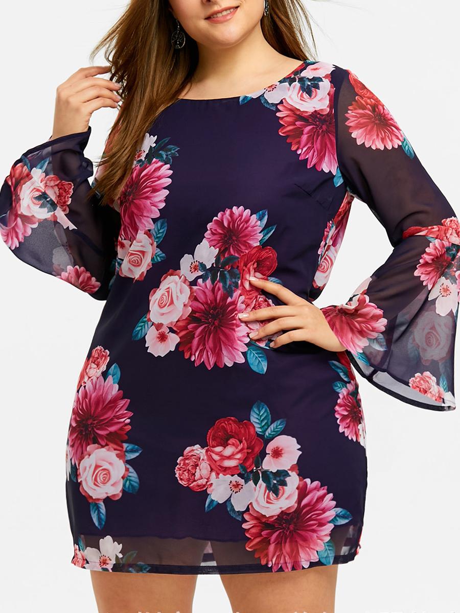Round Neck Floral Printed Plus Size Bodycon Dress