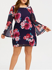 Round Neck  Floral Printed Plus Size Bodycon Dress