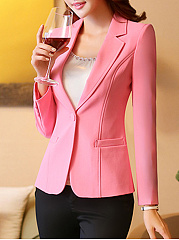 Notch Lapel  Single Button  Plain Blazer