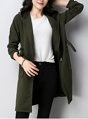 Hooded Drawstring Patch Pocket Plain Trench Coat