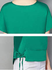 Summer  Mulberry Silk  Women  Round Neck  Drawstring  Plain  Short Sleeve Blouses