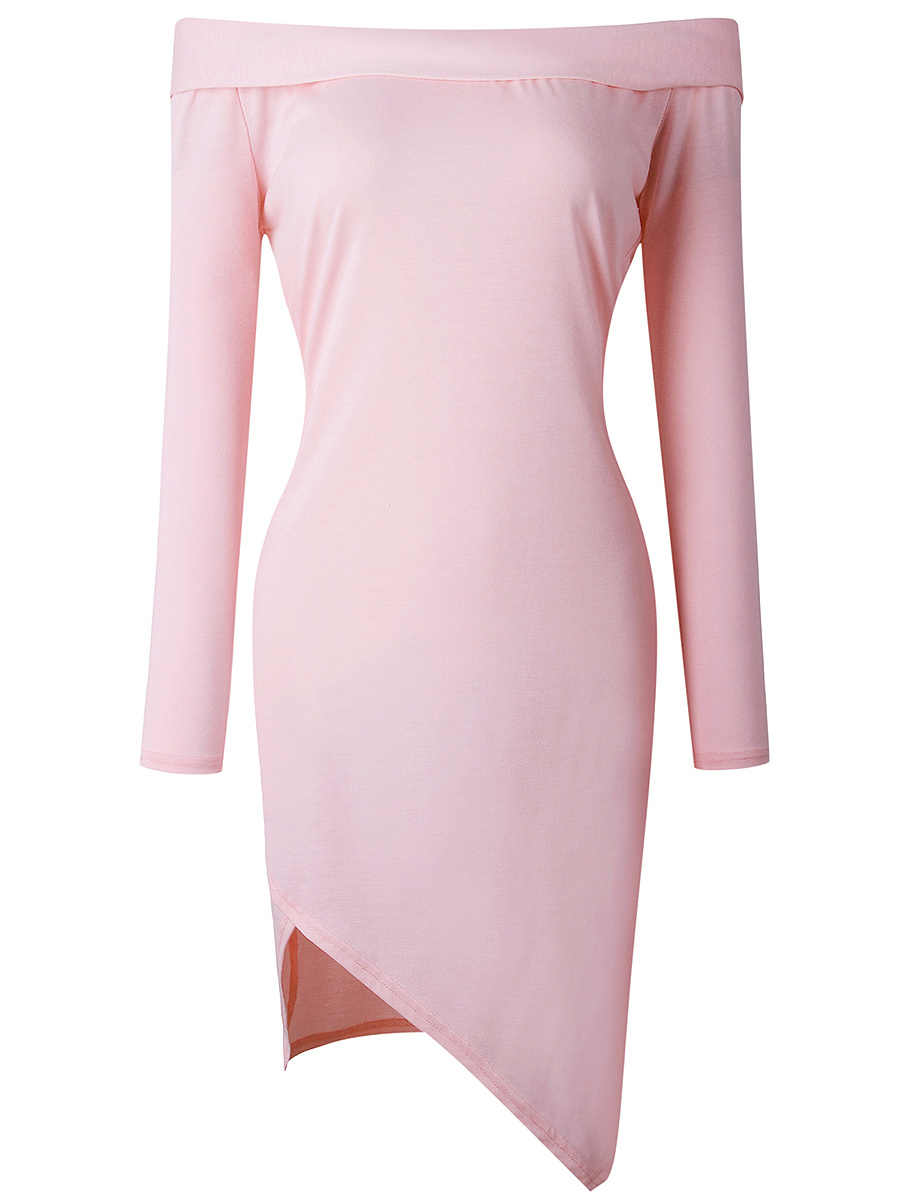 Off Shoulder Asymmetric Hem Plain Bodycon Dress