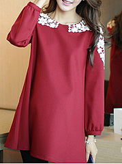 Round Neck  Bowknot  Colouring Lace Shift Dress