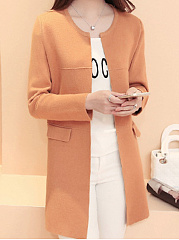 Flap Pocket  Plain  Long Sleeve Cardigans