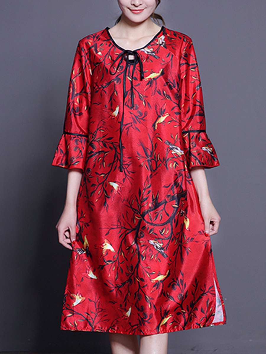 Tie Collar Keyhole Printed Bell Sleeve Maxi Dress