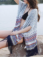 Printed  Three-Quarter Sleeve Kimono For Women