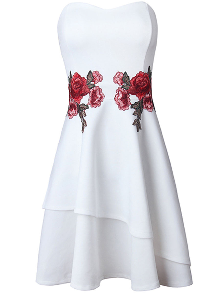 Strapless Embroidery Floral Patch Mini Skater Dress