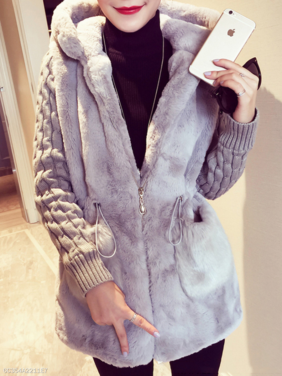 Hooded Drawstring Patch Pocket Plain Coat