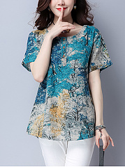 Summer  Cotton/Linen  Women  Round Neck  Printed  Short Sleeve Blouses