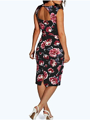 Square Neck  Slit  Floral Printed Bodycon Dress