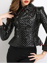 Fold-Over-Collar-Double-Breasted-Flounce-Plain-Jackets