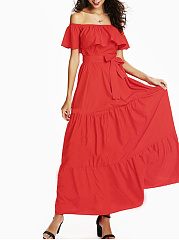 Off Shoulder  Ruffled Hem  Belt  Plain Maxi Dress