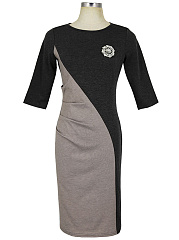 Round Neck Color Block Brooch Slit Bodycon Dress