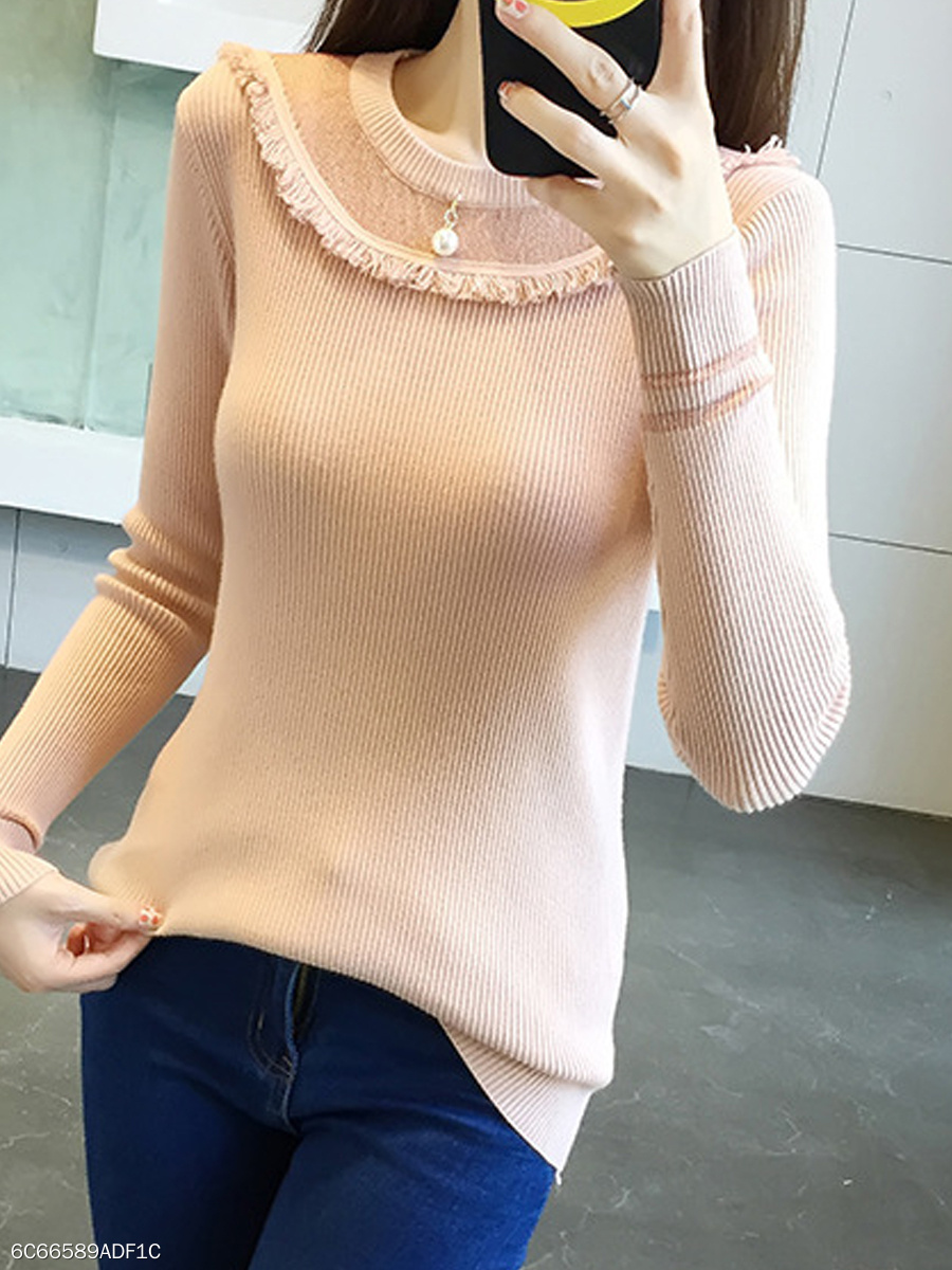 Round Neck  Patchwork  Plain  Long Sleeve Sweaters Pullover
