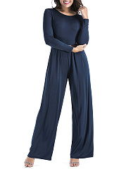 Round-Neck-Belt-Plain-Wide-Leg-Jumpsuit