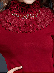 High Neck  Beading Decorative Lace  Plain  Long Sleeve Sweaters Pullover