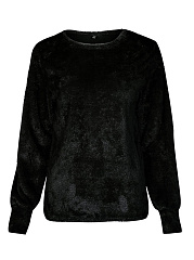 Round Neck Fluffy Plain Long Sleeve Sweatshirts
