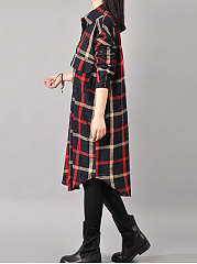 Plaid Flap Pocket Curved Hem Shirt Dress