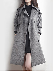 Lapel Plaid Double Breasted Belt Woolen Trench Coat