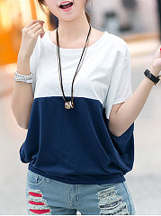 Round Neck  Patchwork  Plain  Batwing Sleeve Short Sleeve T-Shirts
