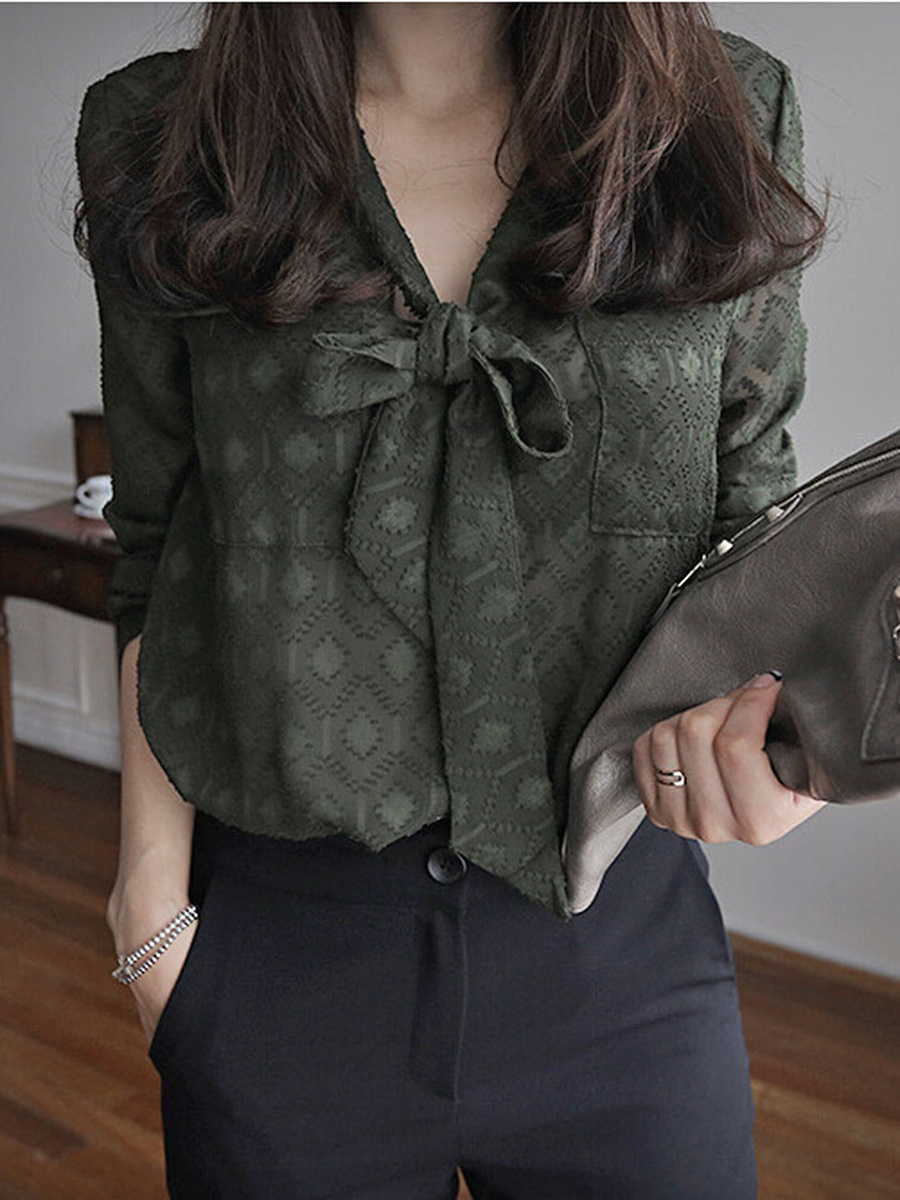 Tie Collar Hollow Out Plain Blouse With Tube