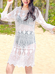 Longline Round Neck See-Through Embroidery Plain Tunic