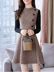 Band Collar Patchwork Plaid Skater Dress