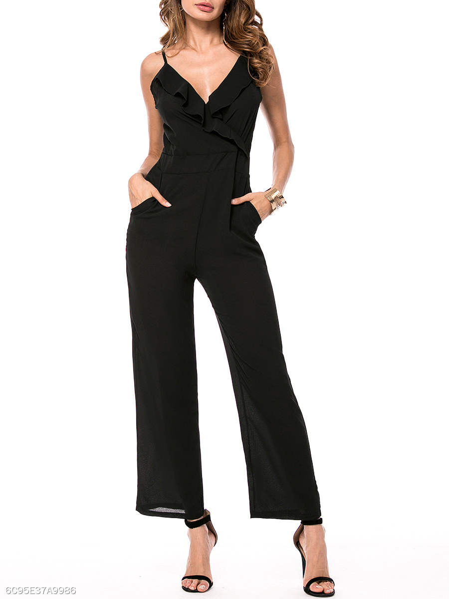 Spaghetti Strap Flounce Pocket Plain Straight Jumpsuit