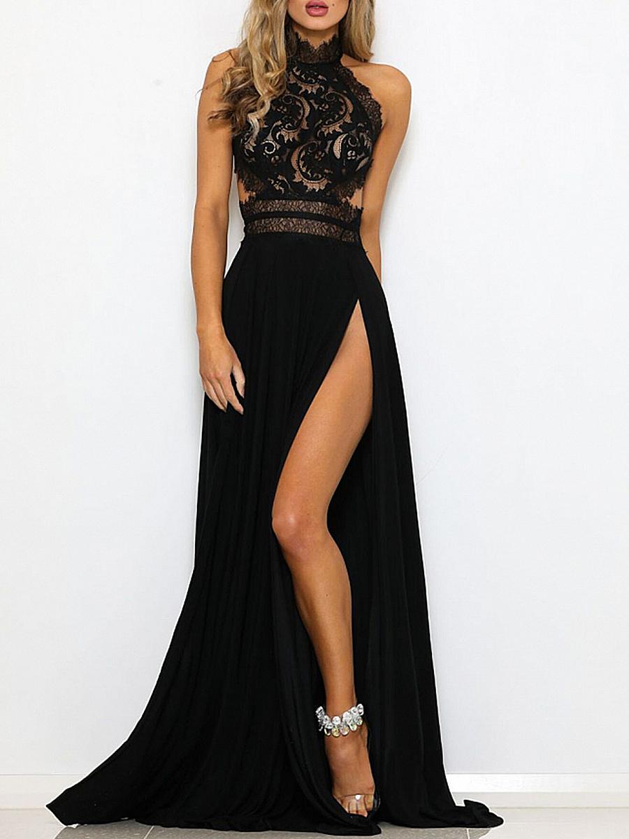 Round Neck  Decorative Lace  Printed Maxi Dress