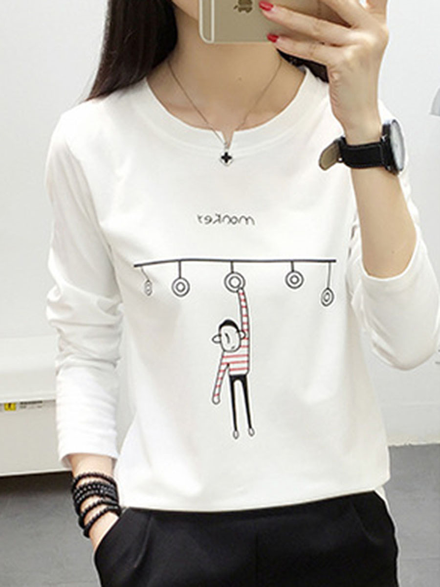 Round Neck  Print Long Sleeve T-Shirts