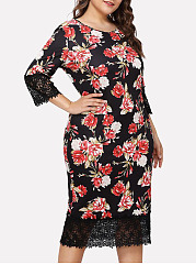 Round Neck  Decorative Lace  Floral Printed Plus Size Bodycon Dresses