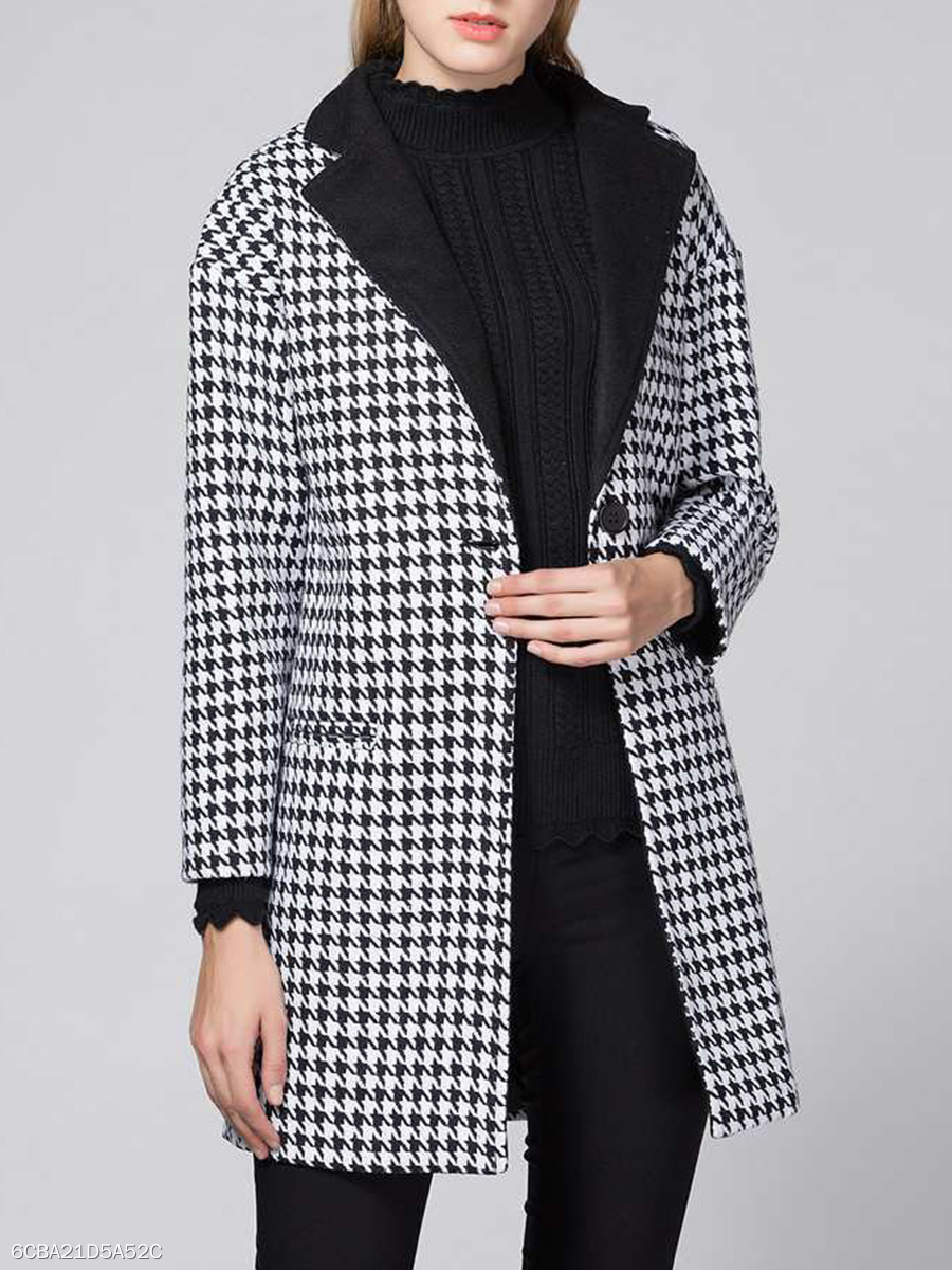 Lapel Houndstooth Pocket Single Button Woolen Coat