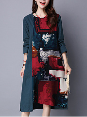 Round Neck Pocket Abstract Print Shift Dress