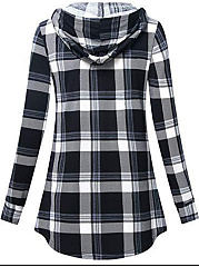 Hooded  Zipper  Checkered Long Sleeve T-Shirts
