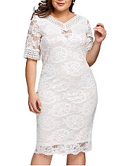 V-Neck  Decorative Lace  Hollow Out Plain Plus Size Midi  Maxi Dress