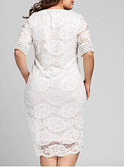 V-Neck  Decorative Lace  Hollow Out Plain Plus Size Midi & Maxi Dress