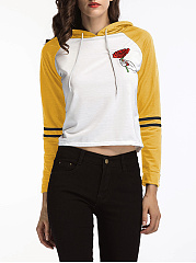 Color Block Raglan Sleeve Floral Cropped Hoodie