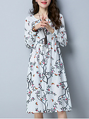 Round Neck Drawstring Floral Printed Maxi Dress