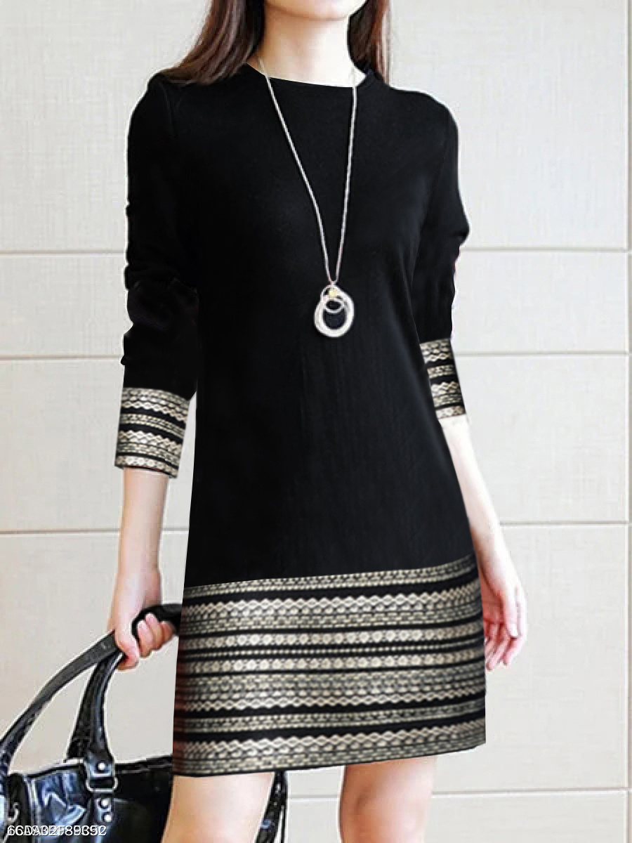 Round Neck  Printed Daily Shift Dress