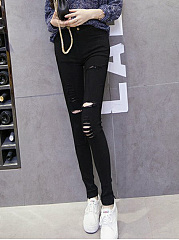 Plain Whiskered  Slim-Leg  High-Rise Legging