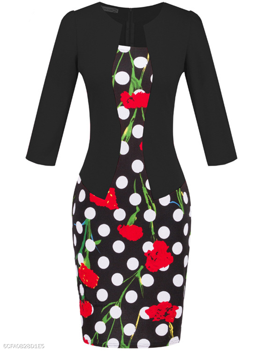 Floral Polka Dot Belt Bodycon Dress